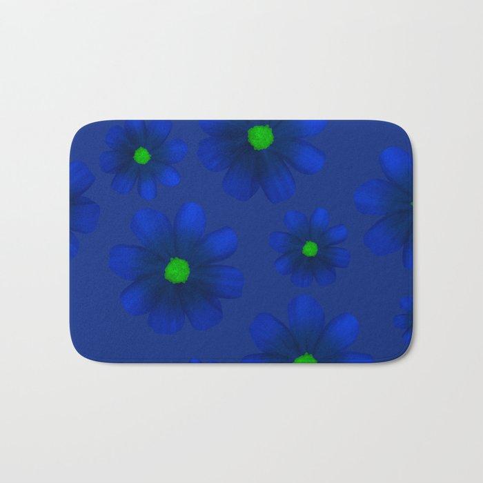 Blue Flowers Beautiful Pattern Bath Mat