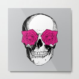 Skull and Roses | Grey and Pink Metal Print