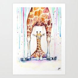 Gorgeous Giraffes (Rain) Art Print
