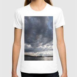 Dark Clouds Coming Over Lake In Scandinavia #decor #society6 #buyart T-shirt