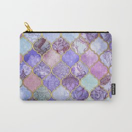 Royal Purple, Mauve & Indigo Decorative Moroccan Tile Pattern Carry-All Pouch