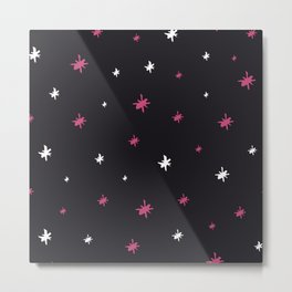Hand painted black pink white modern abstract stars Metal Print