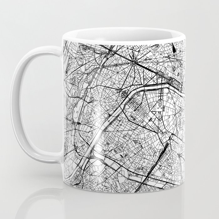 Paris White Map Coffee Mug