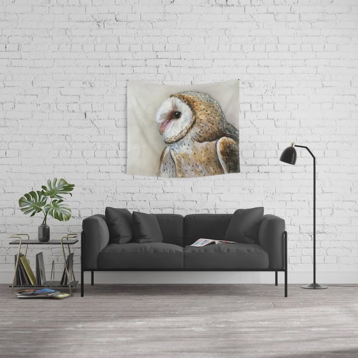 Night Owl Keepers curates Barn Owl Watercolor, Birds Of Prey Wild Animals Owls Wall Tapestry by olechka at Society 6
