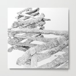 split rail fence, drawing Metal Print