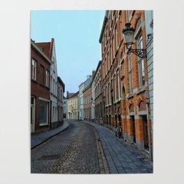 Belgium, Cobblestone Street Poster