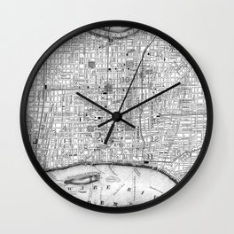 Vintage Map of Philadelphia Pennsylvania (1860) BW Wall Clock