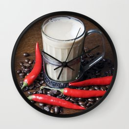 MILK COFFEE and RED CHILLI Wall Clock