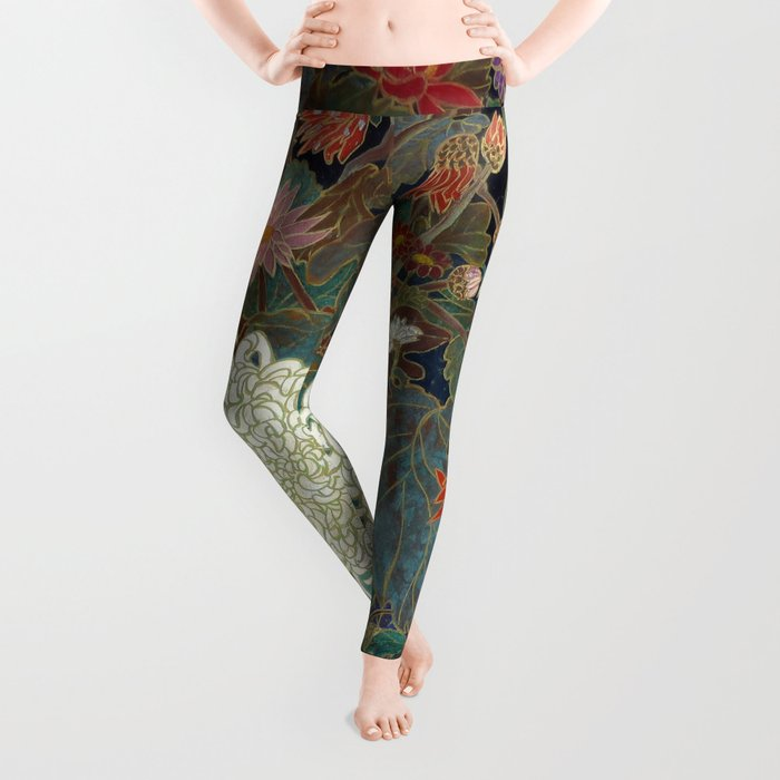 flower【Japanese painting】 Leggings