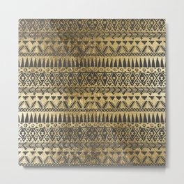 Swanky Faux Gold and Black Hand Drawn Aztec Metal Print