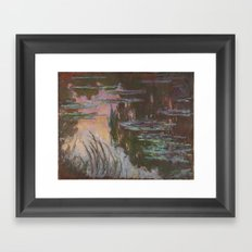 Water-Lilies, Setting Sun by Claude Monet Framed Art Print