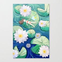 Girl Lay On Lotus Canvas Print