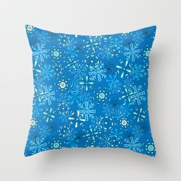 Snow Flurries in Blue Throw Pillow
