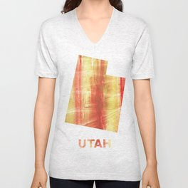 Utah map outline Red Yellow colorful watercolor texture Unisex V-Neck