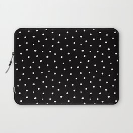 Minimal- Small white polka dots on black - Mix & Match with Simplicty of life Laptop Sleeve