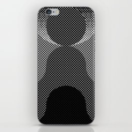 Shadows, mountains, a big eye, all made out of small dots. Black and white. iPhone Skin