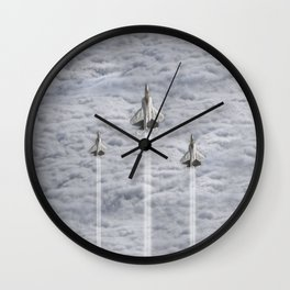F22 Stealth Fighters Climbing in Clouds Wall Clock
