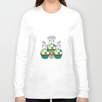 polkadot Long Sleeve T-shirts featuring Cute Monster With Green And Brown Polkadot Cupcakes by Mydeas