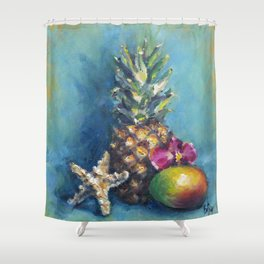 Tropical Dreams: Pineapple Painting Shower Curtain