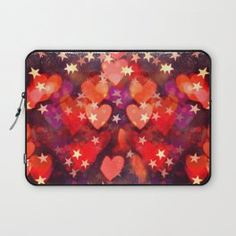 Hearts and stars Valentine bokeh lights sparkle - love heart red glam Laptop Sleeve