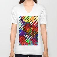 stripe V-neck T-shirts featuring stripe by barmalisiRTB