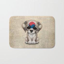 Cute Puppy Dog with flag of South Korea Bath Mat