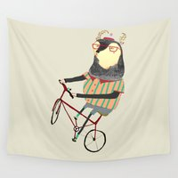 bike Wall Tapestries featuring Deer on Bike.  by Ashley Percival illustration