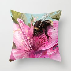Bee on flower 17 Throw Pillow