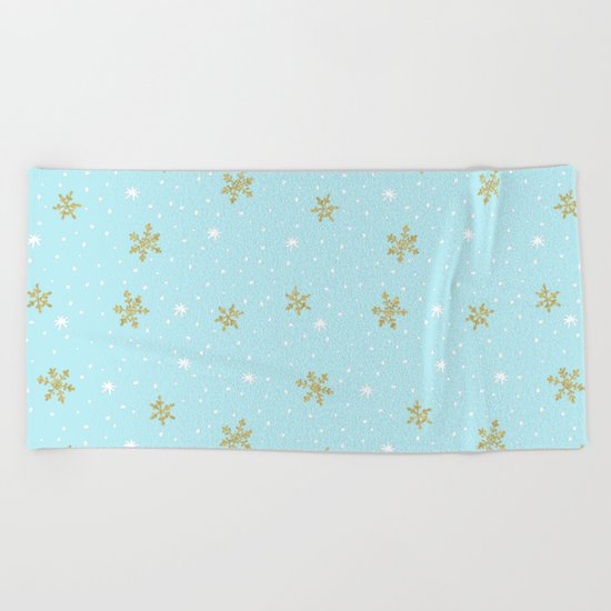 Merry christmas- abstract winter pattern with white & gold Snowflakes Beach Towel