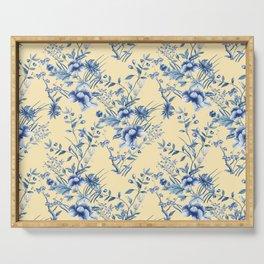Chinoiserie Flowers Blue on Lemon Honey Creme Serving Tray