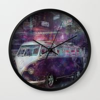 volkswagon Wall Clocks featuring Night time Camper by yairi