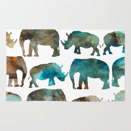watercolor Rhino Elephant Rug