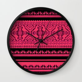 nordic pattern with singing birds Wall Clock
