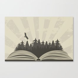 Dark forest in open book with raven Canvas Print