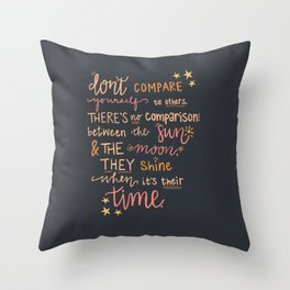 Don't Compare Yourself Quote - Stars & Moon Throw Pillow
