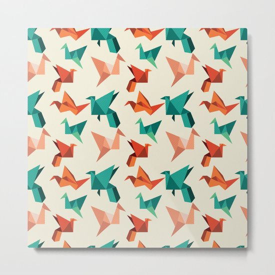 teal paper cranes Metal Print
