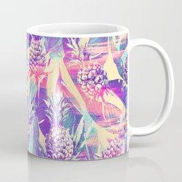 Trendy tropical pink violet pineapple banana leaves Coffee Mug