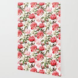 Peonies and Lilies - flower pattern no 1 Wallpaper