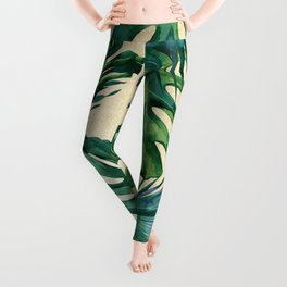Tropical Island Republic Green on Linen Leggings