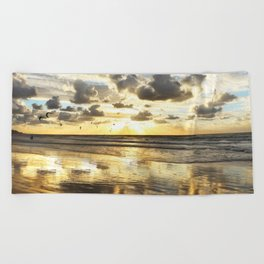 Golden Surf Sunrise Beach Towel