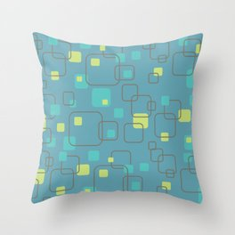 Swank Teal Blue Abstract Pattern Throw Pillow