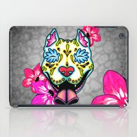 pit bull iPad Cases featuring Slobbering Pit Bull Day of the Dead Sugar Skull Dog by Pretty In Ink