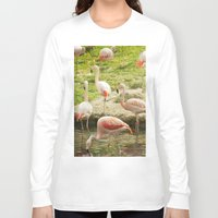 flamingos Long Sleeve T-shirts featuring Flamingos by Sandy Broenimann