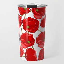 cute red poppies Travel Mug