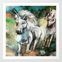 unicorns Art Prints featuring Unicorns by osile ignacio