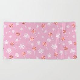 Winter lollipop design Beach Towel
