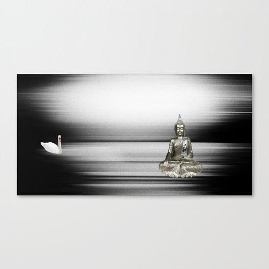 Buddha with swan Canvas Print