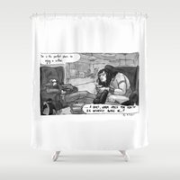 conan Shower Curtains featuring Cromic #8 - A quiet, warm space? by Portable City Illustration
