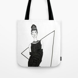 Girl in a black dress Tote Bag