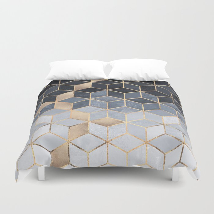 Soft Blue Grant Cubes Duvet Cover